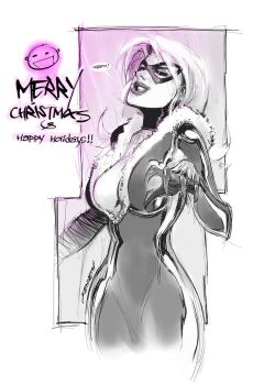 Merry Christmas Black Cat by scabrouspencil
