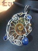 Ammonite with Lapis in Silver by BacktoEarthCreations