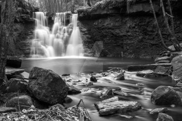 Goit Falls Black and White by mycanonadventure