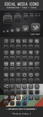 Grey Social Media Icons by JaneVision