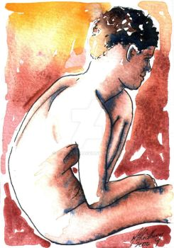 Male Nude. Red + Yellow 15 by Pinkpasty