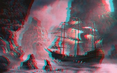 Ghost ship approaching Relief 3D Anaglyph Red Cyan by Fan2Relief3D