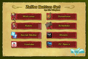 Zelda Twitch Buttons Set Red by SEwingless