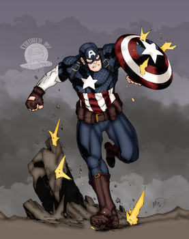 Captain America In Battle by Blackmoonrose13