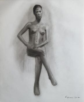 Nude Seated Female Study #2-2017 by Landscapist