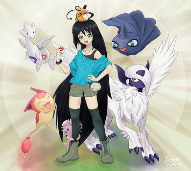 Jade and her Pokemon by empire539