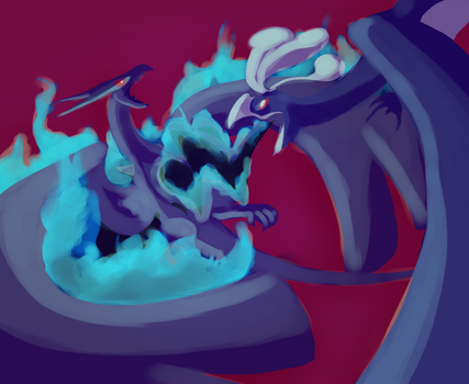 Shadow Ho-Oh vs. Shadow Lugia by grunesgryphon