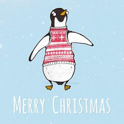 Christmas Card - Penguin by Poppyshadow