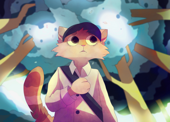 cat in the forest by krisukoo