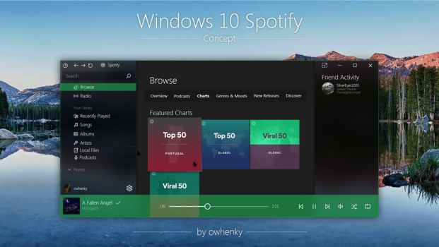 Windows 10 Spotify Concept by owhenky by owhenky