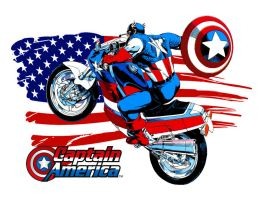 Capt. Am. on his Bike by Superman8193