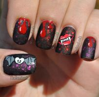 Bloody Halloween Nail Art by MadamLuck