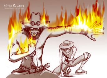 One Piece. Brothers by jen-and-kris
