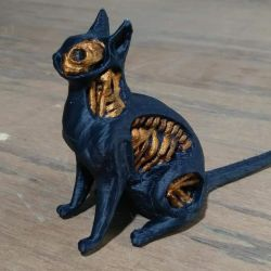 Undead Cat 3d Print Painted Black by chaitanyak