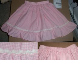 Pink Gingham Ruffle Skirt by Miss-JessieKate