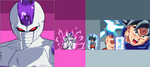 Pixelart Freezer 5th Form and Goku UI by PapuroTekikujimo