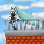 Hatsune Miku on a roof with the wind blowing by raygrato777