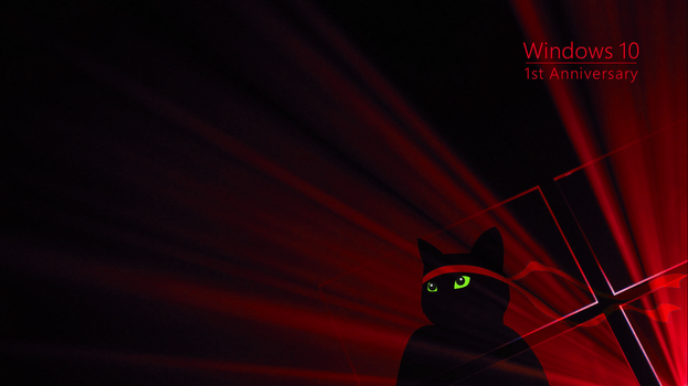 Windows Insider Anniversary Ninja Cat Red by Kohlheppj13