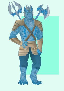 Blue Dragonborn by Dinosaurolophus