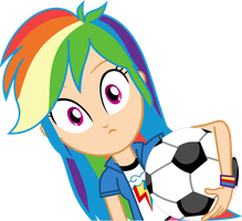 Humanized EG Rainbow Dash with soccer ball by Michaelsety