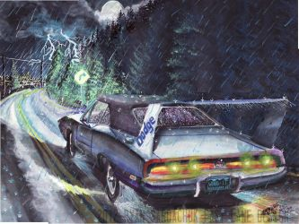 1969 Dodge Charger Daytona In The Rain (painting) by FastLaneIllustration