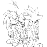 Sketch 1 - Sonic, Shadow and Silver by JustASonicFan