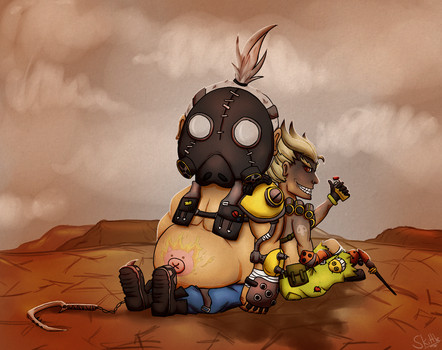 Roadhog and Junkrat and a wasteland - Overwatch by SkittleLittle