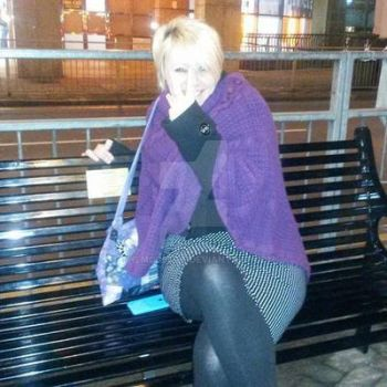 Myself on Rik Mayall's memorial bench - Feb 2015 by themodette
