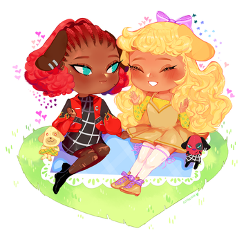 cherry and goldie - animal crossing by rosheruuu