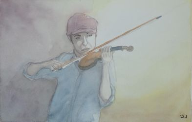 Violonist with bordeau cap by iwai123