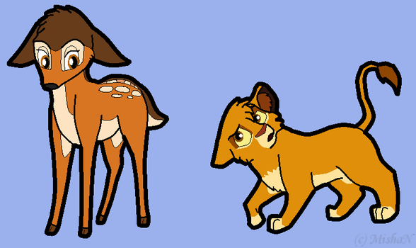 Bambi and Simba by M-is-h-a-N