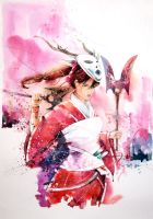 Speed Painting - Bloodmoon Akali by Abstractmusiq