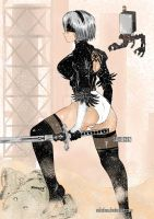 Nier: 2b on desert Zone - 2nd Outfit by Sohoken