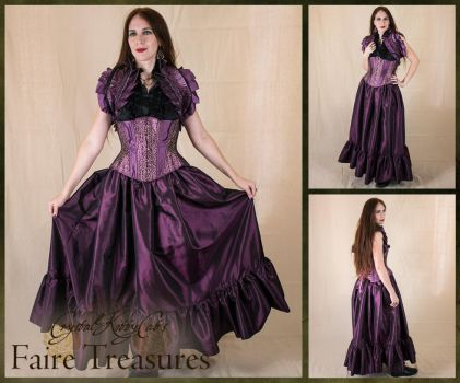 Purple Taffeta Steampunk Ruffle Skirt by CrystalKittyCat