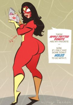 Spider-Woman - Donuts - Commission by HugoTendaz