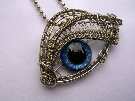 Glow Blue - Cerulean Silver Eye Pendant 2 by LadyPirotessa