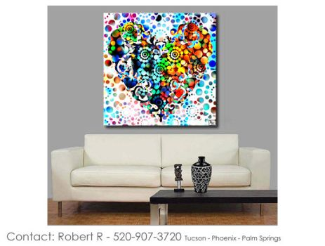 Heart7 On Fire Abstract Paintings Print Poster by robertrpaintings