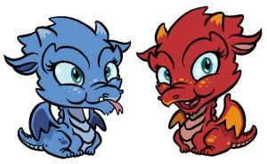 Blue and Red Baby Dragons by borogove13