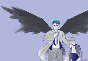 Castiel Sketch by AlpacasCanFly