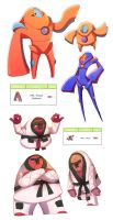 Deoxys and Throh pokedesigns