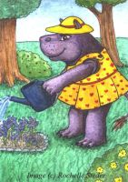 ACEO- Hippo Gardening by digital-blood