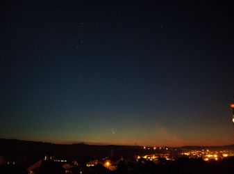 Comet PanSTARRS via my camera's viewfinder by wolfrayetstar