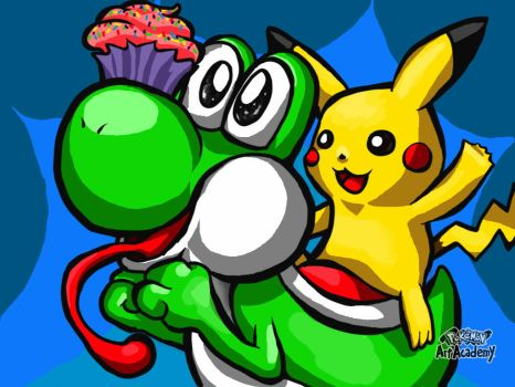 Yoshi and Pikachu (ft. Delicious Cupcake) by BlazingFire909
