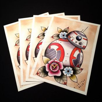 BB-8 Tattoo Flash Print by Michelle Coffee by misscoffee