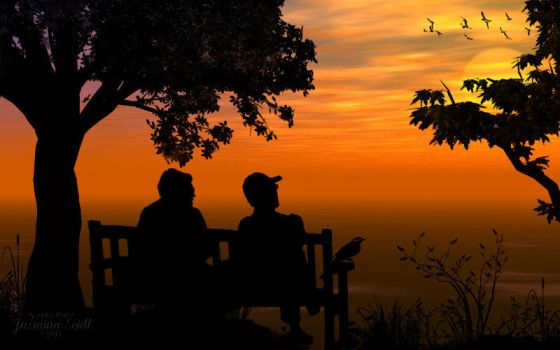 Together sitting by Sunset by Jassy2012