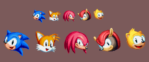 Sonic Mania Plus Art - Mighty and Ray Pixel Heads by DOA687