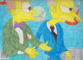 Burns and Smithers Walking in the SNPP 1 by RozStaw57