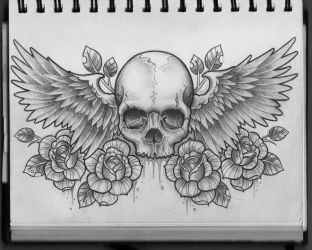 Skull and Wings Chest Design by Frosttattoo