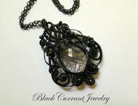 Tourmaline Quartz with Black Wire by blackcurrantjewelry