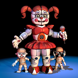 [FNAF/C4D] Circus Baby And The Bidybabs REMAKE V3 by CaramelloProductions